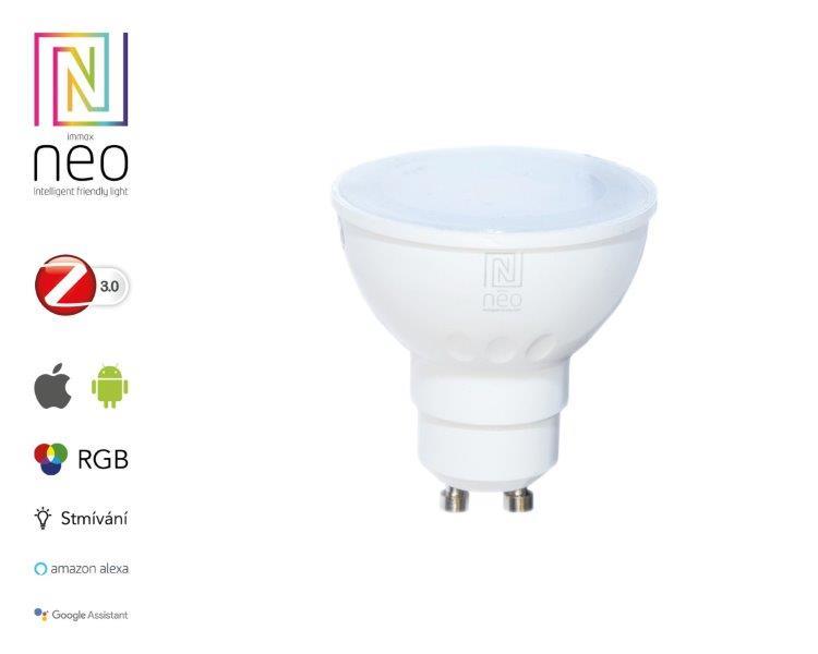 Immax LED žárovka Neo GU10 5W RGB LED žárovka, GU10, 230V, 5W, teplá bílá + RGB, stmívatelná, 230lm