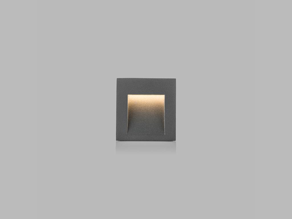 LED2 5100334 STEP IN Q zápustné hranaté exteriérové svítidlo 70x65mm 3W / 100lm 3000K IP54 antraci