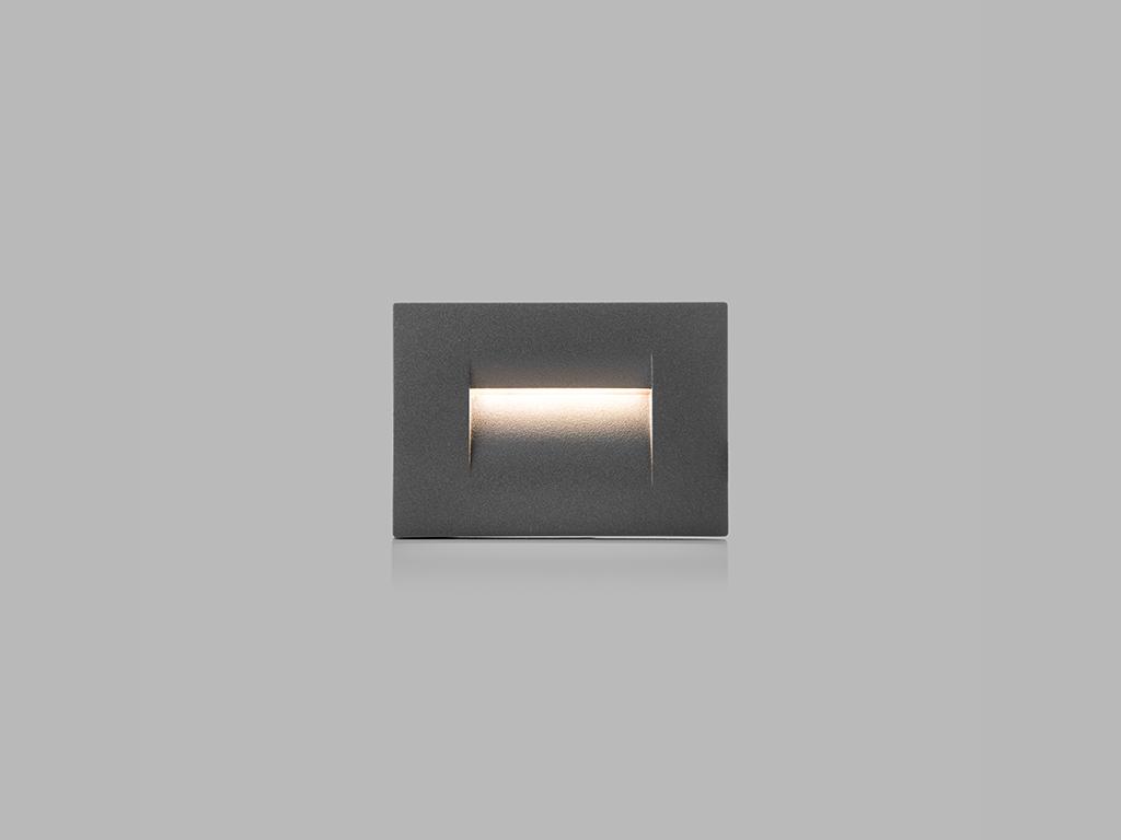 LED2 5141434 STEP IN S zápustné hranaté exteriérové svítidlo 75x107mm 3,6W / 106lm 3000K IP54 antr