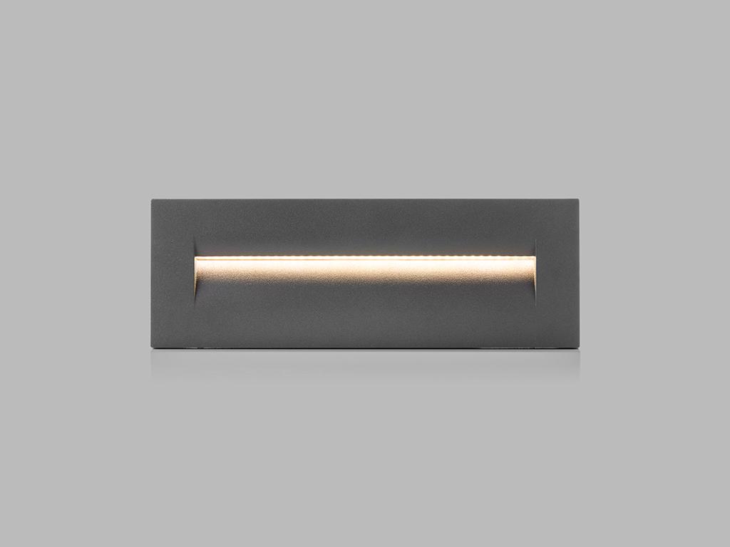 LED2 5141534 STEP IN L zápustné hranaté exteriérové svítidlo 87x255mm 8,5W / 250lm 3000K IP54 antr