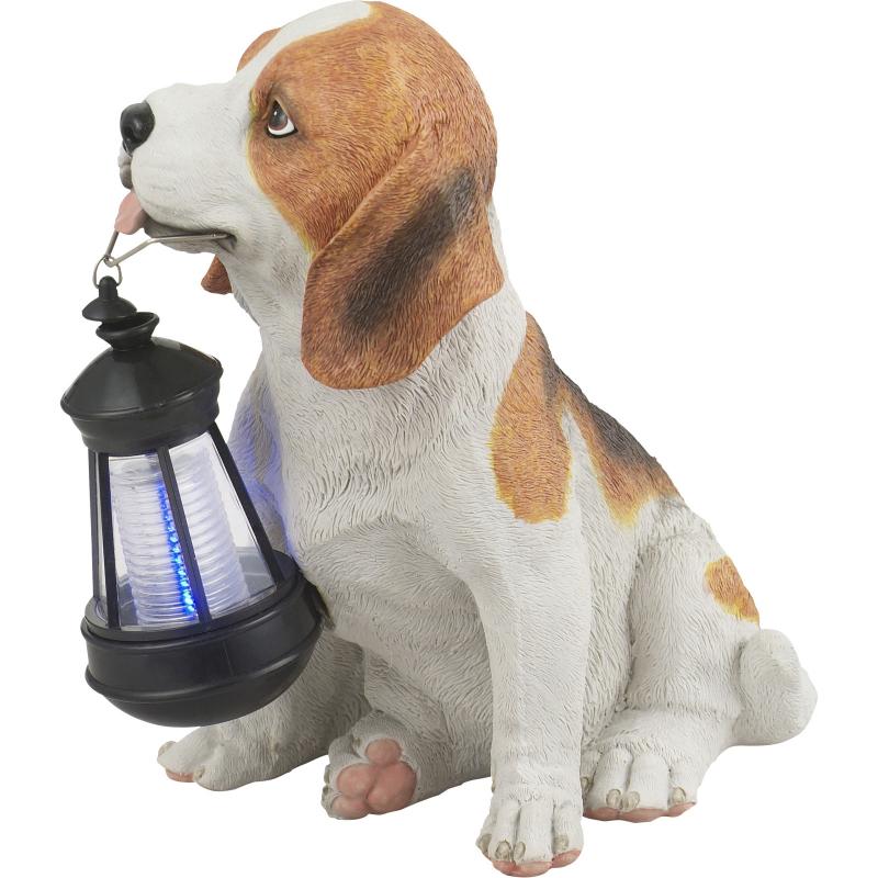 33371 GLOBO Exteriérové solární LED svítidlo zahradní dekorace Pes, 1x 0,06W 4000K IP44 bílá a hnědá