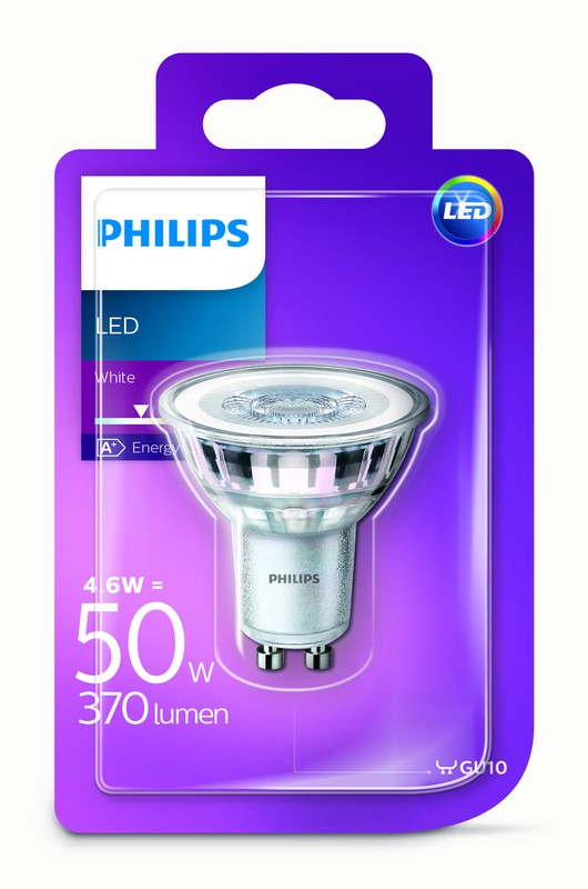 Philips LED 4,6W/50W GU10 WH 36D ND bodová bílé světlo (3000K)