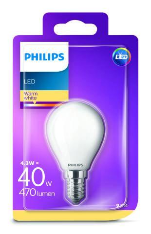 Philips LED 4,3W/40W E14 WW FR+Glass P45 ND kvapka teplé světlo (2700K)