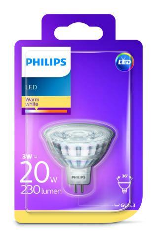 Philips LED 3W/20W GU5,3 WW 12V 36D ND bodová