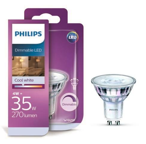 Philips LED 4W/35W GU10 CW 36D DIM bodová