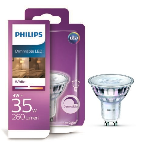 Philips LED 4W/35W GU10 WH 36D D bodová