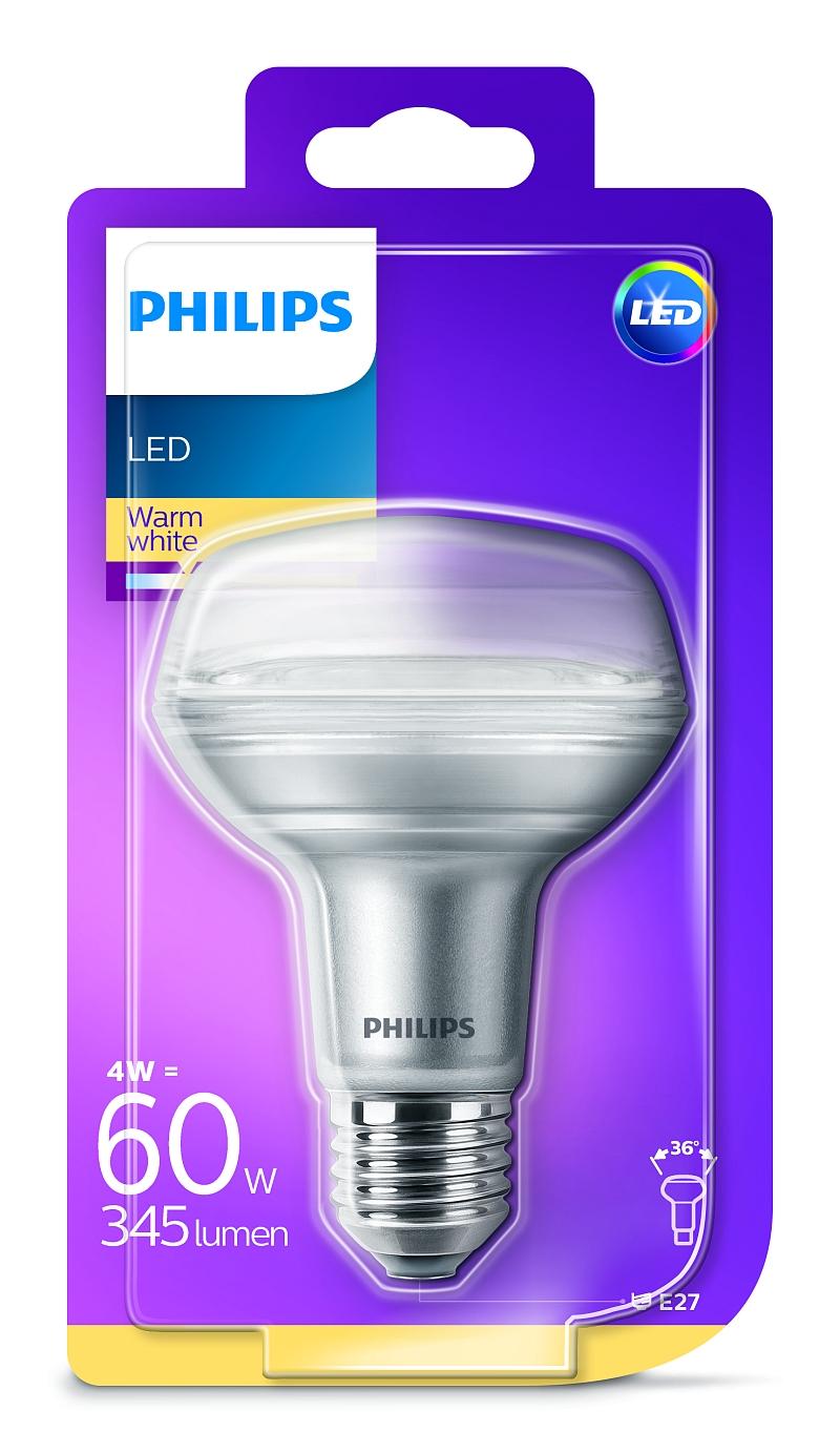 Philips LED žárovka 81323200 230 V, E27, 4 W = 60 W, teplá bílá, A+ A++ - E , reflektor