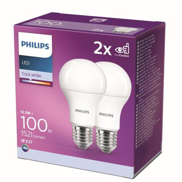 Philips 8718699726959 2x LED žárovka 1x12,5W E27 4000K - double pack