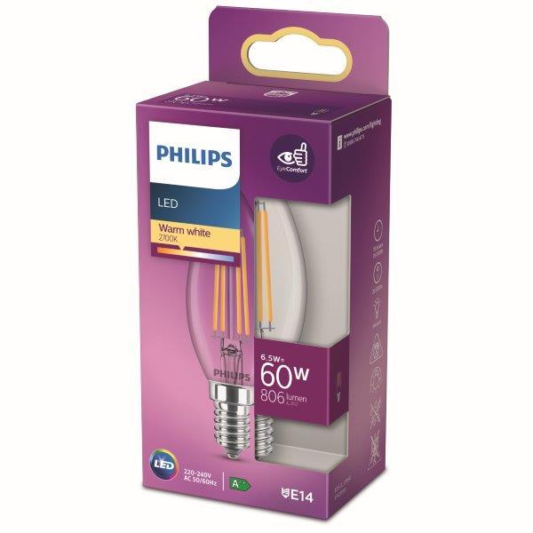 Philips 8718699762193 LED žárovka 1x6,5W E14 806lm 2700K teplá bílá, čirá, EyeComfort