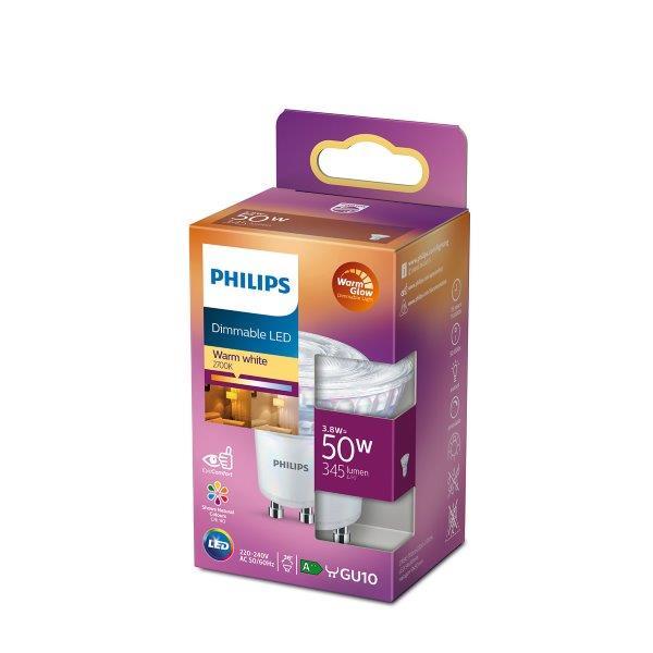 Philips Lighting 77423300 LED A++ A++ E GU10 reflektor 3.8 W = 50 W teplá bílá