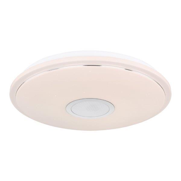 GLOBO 41386-24L CONNOR stropní LED svítidlo 500 mm 24W / 1400lm 3000-4000-6000K IP20 bílá, starlight efekt, Bluetooth reproduktor