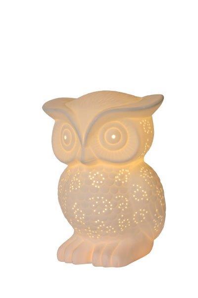 Lucide 13505/01/31 OWL stolní lampa E14 H2cm porcelánová bílá
