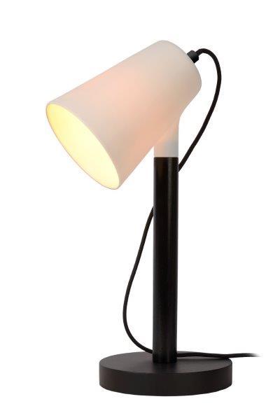 Lucide 13528/01/30 BRYTON stolní lampa E14 / 25W černá porcelánová bílá / dřevo