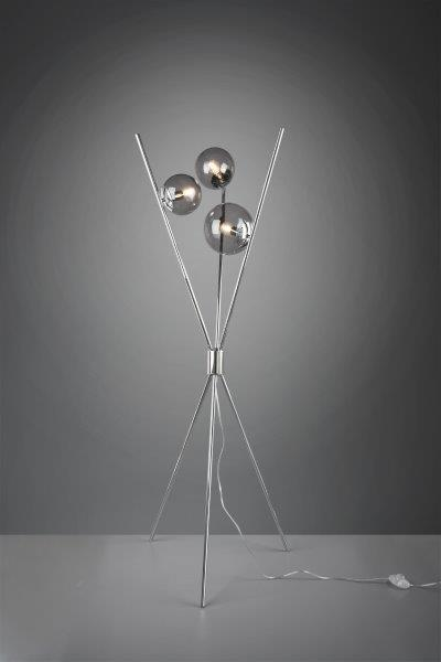 TRIO 403400354 Lance Stojanová lampa 600mm E14 3X28W Chromová, kouřová