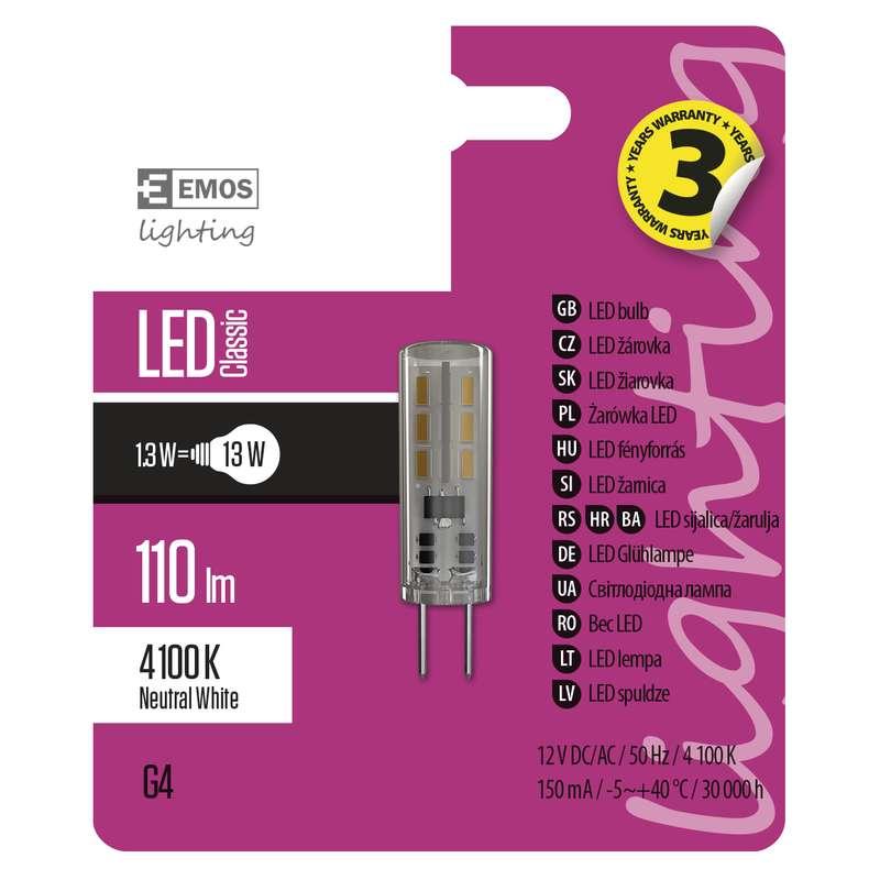 Emos LED žárovka Classic JC A++ 1,3W G4 neutrální bílá