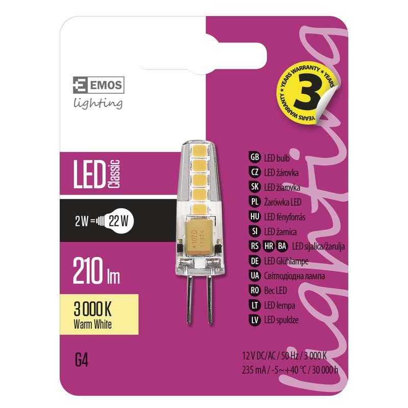 Emos LED žárovka ZQ8620 JC 2W G4 210lm 3000K