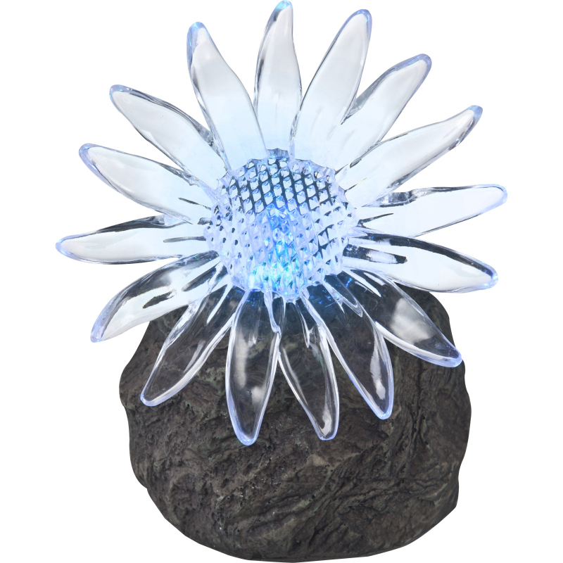 33912 GLOBO Exteriérové solární LED svítidlo zahradní dekorace Květ, 1x 0,06W RGB IP44 šedá
