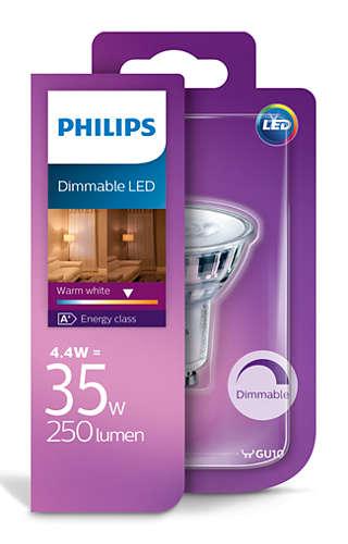 Philips LED 4,4W/35W GU10 WW 36D D bodová teplé světlo (2700K)