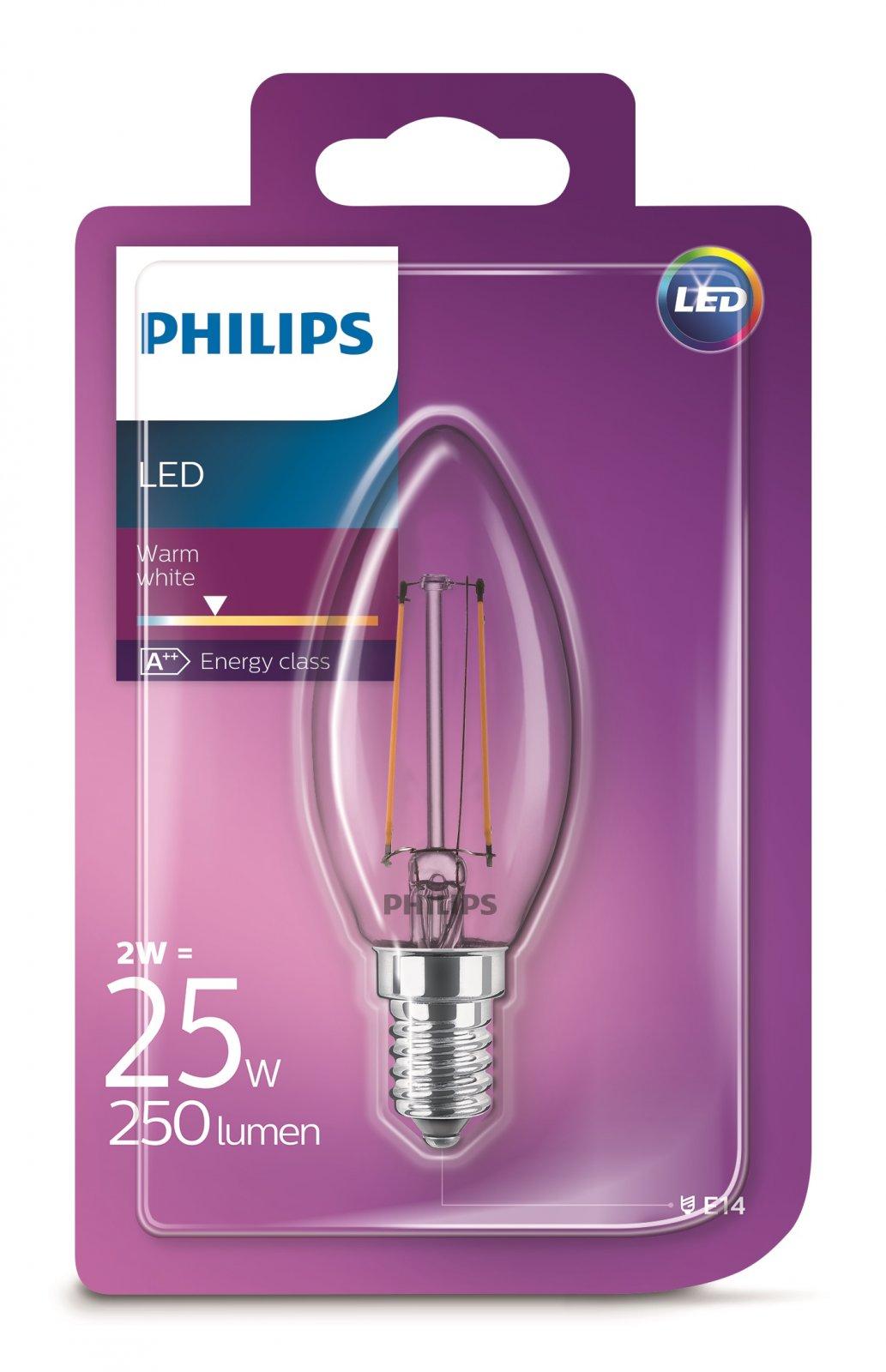 Philips LED Classic 2W/25W E14 WW B35 CL ND mini candle teplé světlo (2700K)
