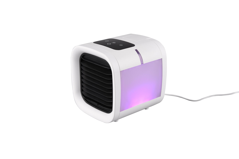 R031-01 TRIO RL IceCube stolový zvlhčovač vzduchu / ventilátor s RGB LED osvětlením a nádrží na vodu a dotykovým displejem IP20 bílá