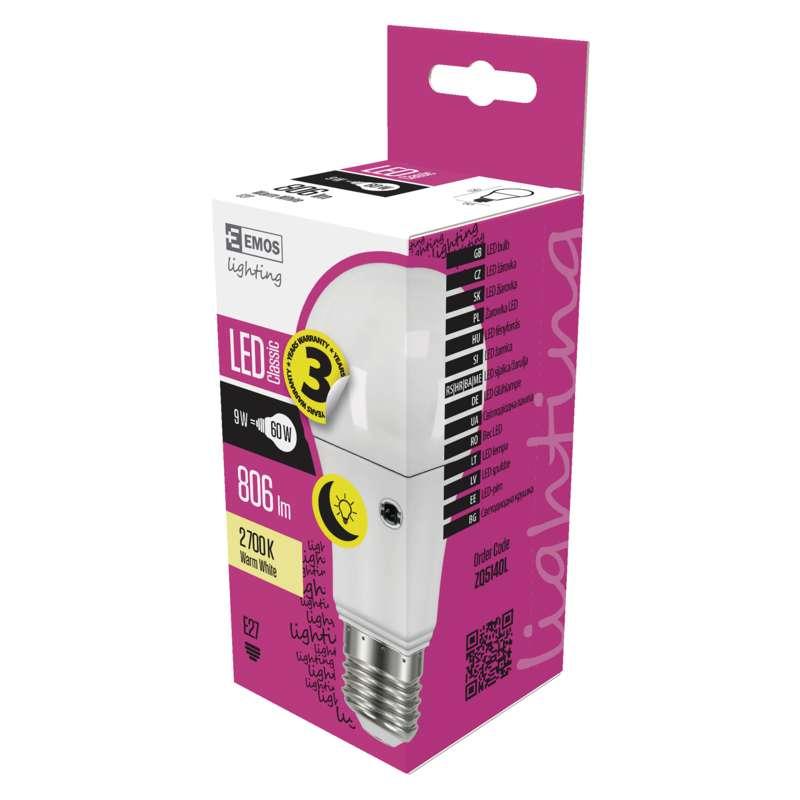 Emos LED žárovka s fotosenzorem Classic A60 9W E27 teplá bílá