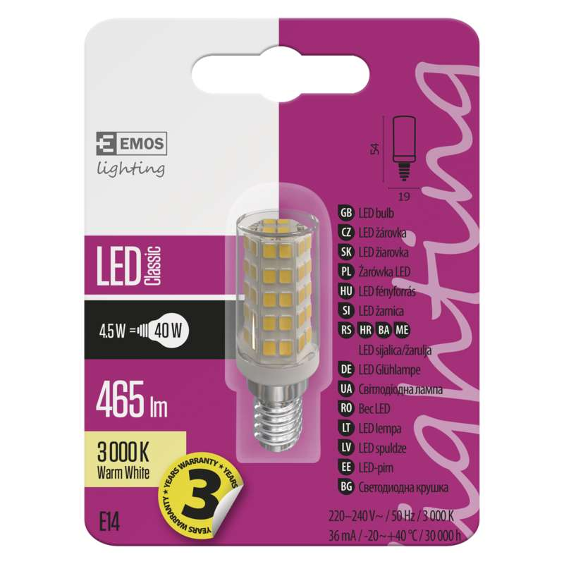 ZQ9140 EMOS LED žárovka JC A ++ 4,5W / E14 3000K