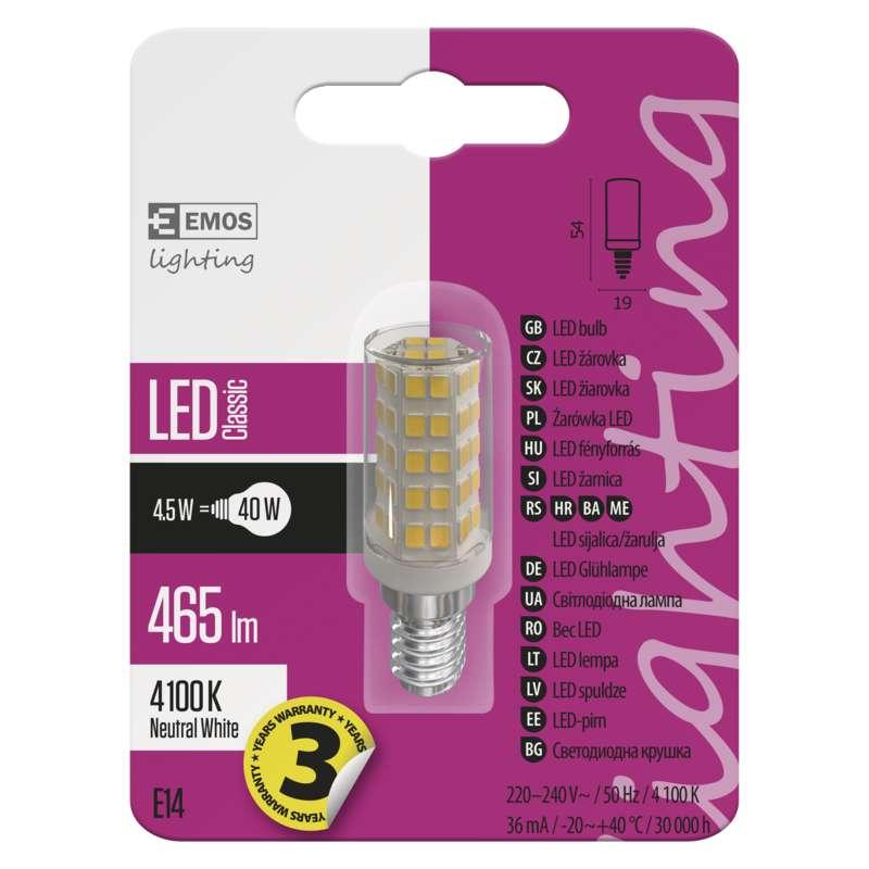 ZQ9141 EMOS Žárovka LED JC A ++ 4,5W / E14 4100K