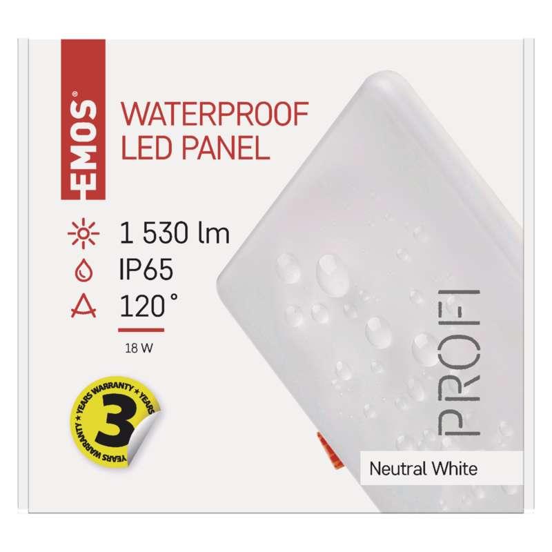 ZV2152 EMOS LED panel čtvereční vestavěný bílý 18W / 1530lm IP65 neutrální bílá