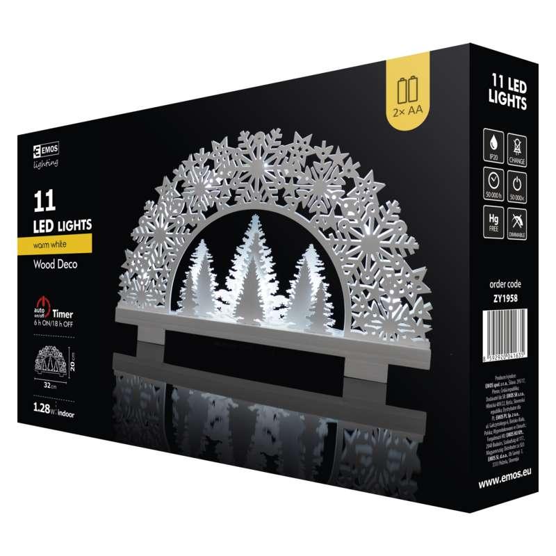 ZY1958 LED vánoční stojan stromy a vločky CLASSIC 11LED teplá bíla 20x32cm+ časovač